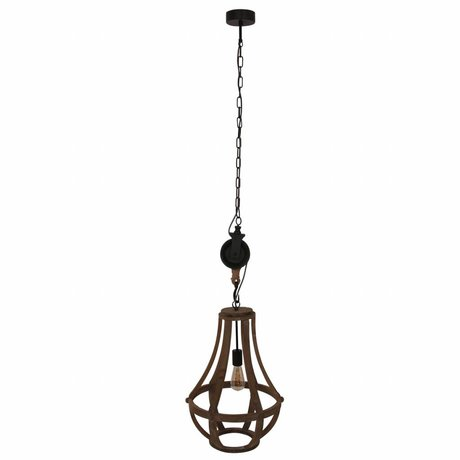 Anne Lighting Lampe à suspension Liberty Bell marron bois noir métal 40x83cm