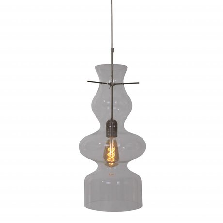 Anne Lighting Suspension Chalise jour et nuit 21x165cm métal en verre transparent