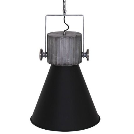 Anne Lighting Suspension à capuchon 40x155cm métallique noir