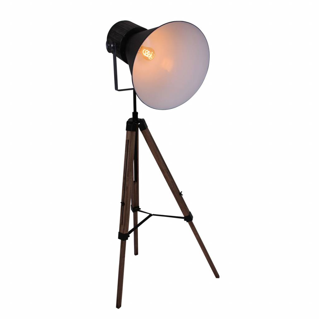 Anne Lighting Stativ Stehlampe Hoody Schwarz Metall Holz 60x170cm