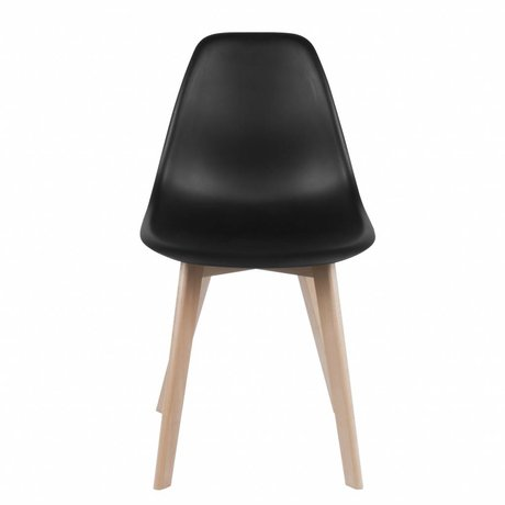 Leitmotiv Dining chair Elementary black plastic wood 80x48x38cm