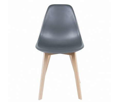 Leitmotiv Dining chair Elementary gray plastic wood 80x48x38cm