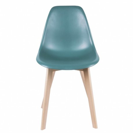 Leitmotiv Dining chair elementary blue plastic wood 80x48x38cm
