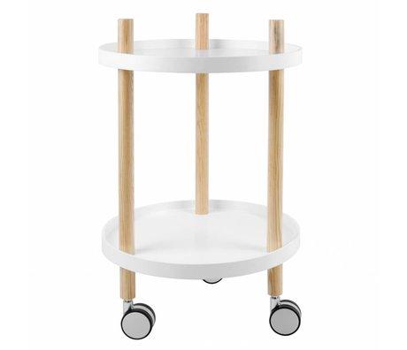 Leitmotiv Kitchen trolley white wood Ø40x63cm