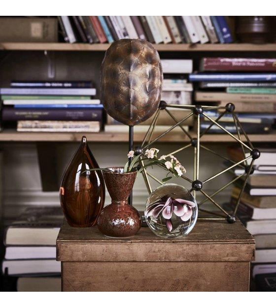 Kwal In Glas.Hk Living Ornament Kunstmatige Kwal Bruin Glas 9x6x17cm