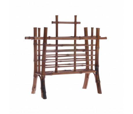 HK-living Brievenhouder bruin bamboe 27,5x11,5x26cm