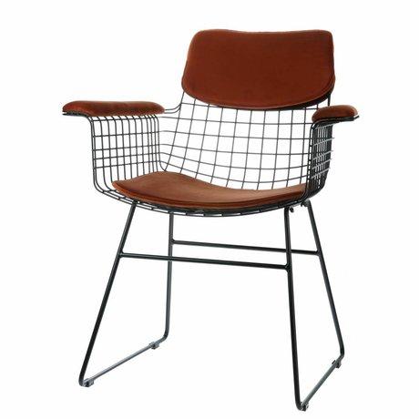 HK-living velours Kit confort chaise fil métallique en terre cuite avec accoudoirs