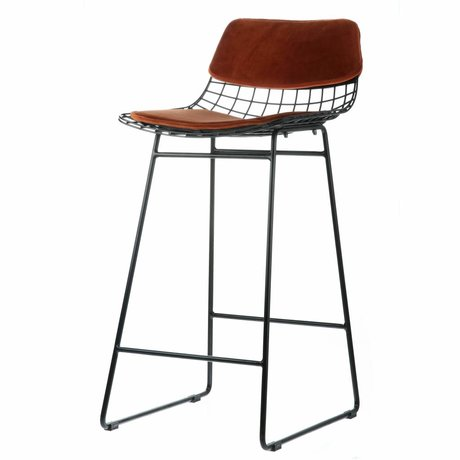 HK-living Comfort kit velvet terracotta for metal wire bar stool
