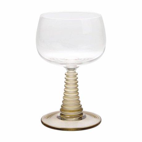 HK-living Wijnglas met gedraaide voet groen glas 8,5x8,5x13,5cm
