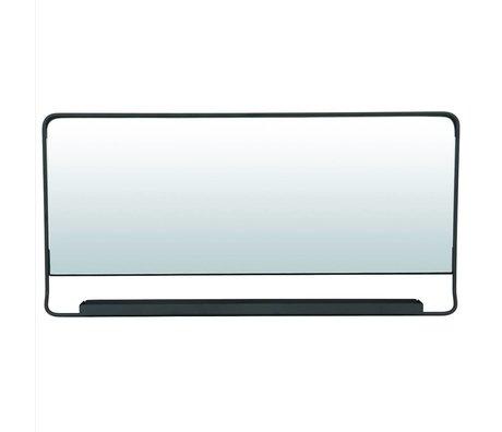 Housedoctor Miroir Chiq avec étagère en métal noir 80x40cm