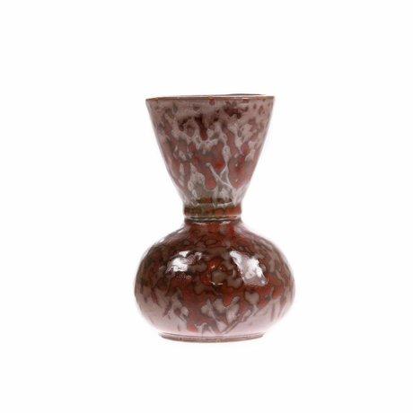 HK-living Vaas rood gevlekt keramiek 8,2x8,2x11,8cm