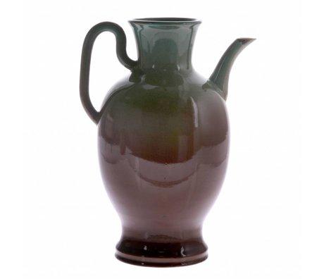 HK-living Can L green brown ceramics 16,5x16,5x27cm