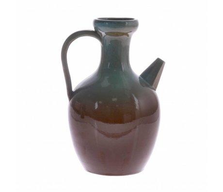 HK-living Can M bleu brun 16,5x16,5x24,5cm céramique