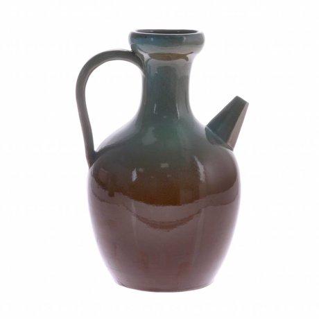 HK-living Can M blue brown ceramic 16,5x16,5x24,5cm