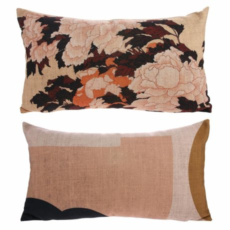 HK-living Pillow Kyoto with multicolored print 100% recycled PET 35x60cm