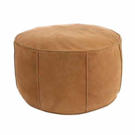HK-living Pouf cuir léger daim marron 50x50x25cm