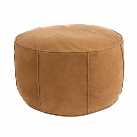 HK-living Pouf light brown suede leather 50x50x25cm