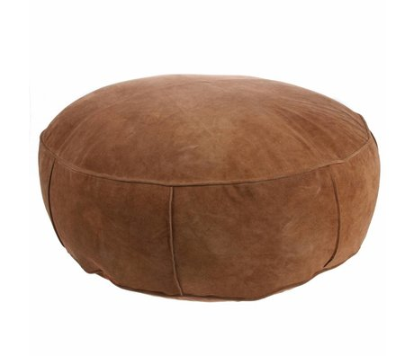 HK-living Pouf XL dark brown suede leather 80x80x20cm