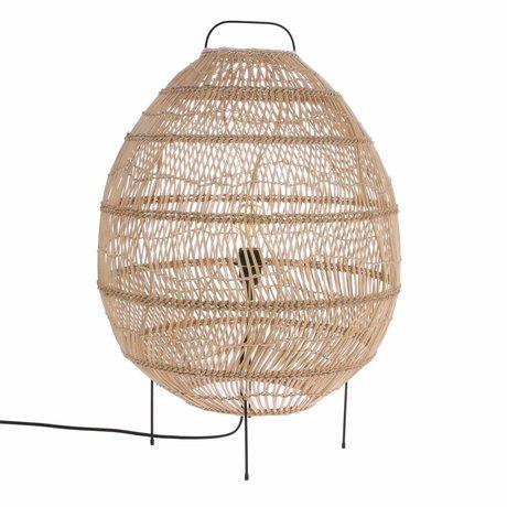 HK-living Floor lamp Oval hand woven beige cane 50x50x72cm