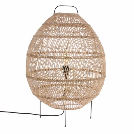 HK-living Vloerlamp Ovaal handgevlochten beige riet 50x50x72cm
