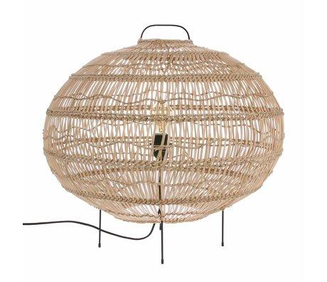 HK-living Floor lamp Oval hand woven beige cane 60x60x56cm