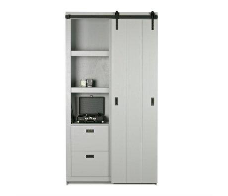 vtwonen Faites glisser l'armoire Grange 230x122x37cm gris béton de bois