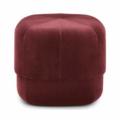 Normann Copenhagen Poef Circus donker rood velours small 40x46x46cm