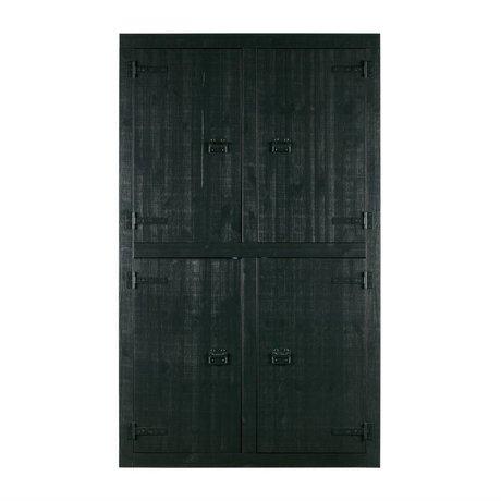 vtwonen armoire pin noir superposé 4 portes 120x37x200cm
