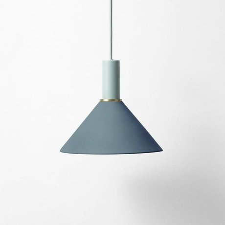 Ferm Living Hang lamp Cone low dark blue light gray metal