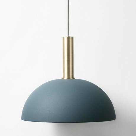Ferm Living Hanglamp Dome high dark blue brass gold metal