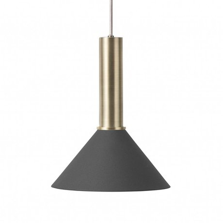 Ferm Living Hanglamp Cone high  zwart brass goud metaal