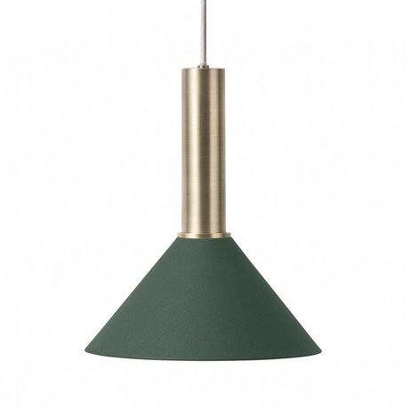Ferm Living Hanglamp Cone high donker groen brass goud metaal