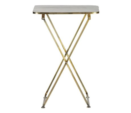 BePureHome Side table Foldaway antique brass gold metal 67x46x46cm