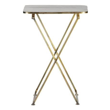 BePureHome Table d'appoint en métal or antique laiton Pliable 67x46x46cm
