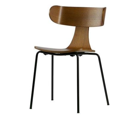 LEF collections Forme Eetkamerstoel bois marron avec patte métallique 77,5x50x52cm