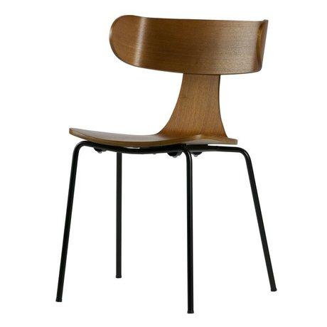 LEF collections Eetkamerstoel Form bruin hout met metalen poot 77,5x50x52cm
