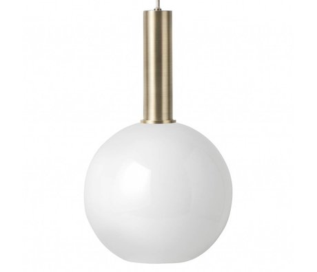 Hanglamp Opal Sphere  high wit brass goud metaal glas