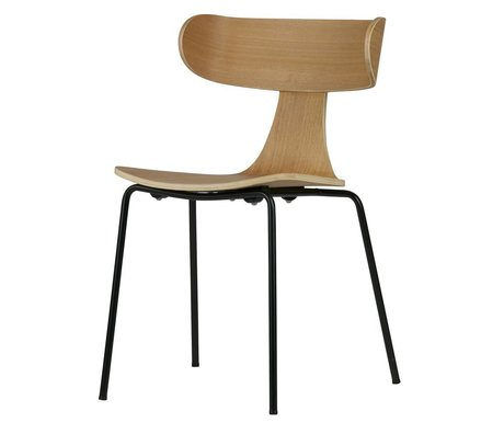 BePureHome Dining chair Form natural brown wood with metal leg 77.5x50x52cm