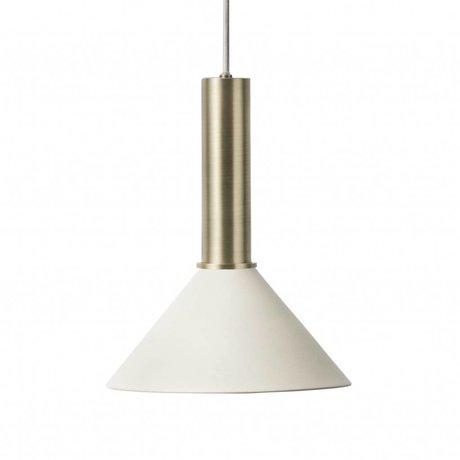 Ferm Living Hanglamp Cone high licht grijs brass goud metaal
