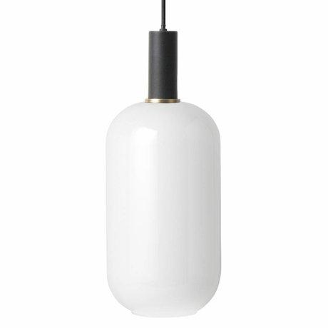 Ferm Living Hanglamp opal Tall glas zwart metaal