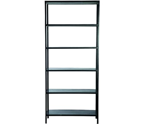 Nicolas Vahe Shelving Cabinet Cubik NO. 4 with 6 shelves black metal 92x31xh210cm