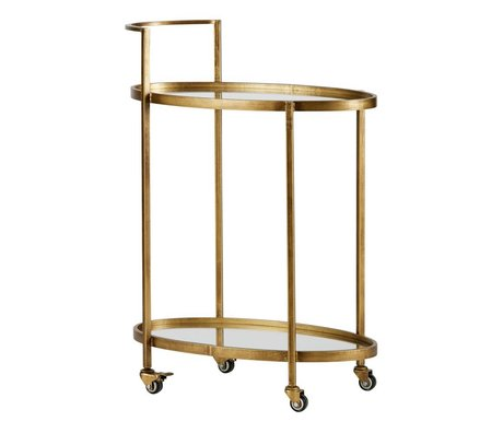 BePureHome Trolley Push-Messing Antik Gold Metall 86x67x35cm