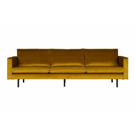 BePureHome Sofa Rodeo 3-seater ocher yellow velvet velvet 85x277x86cm