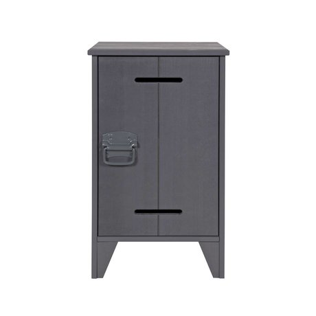 LEF collections Nightstand Safe gray steel timber 63,5x37x35cm