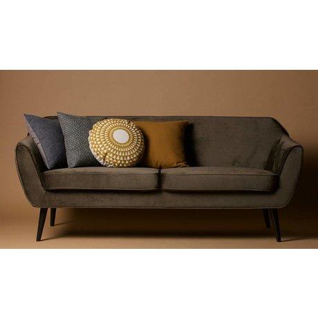 LEF collections Sofa Rocco sofa warm green velvet polyester 75x187x82cm