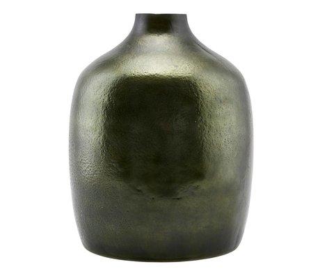 Housedoctor Vase tiefgrünes Glas / Metall-24,5x29,5cm