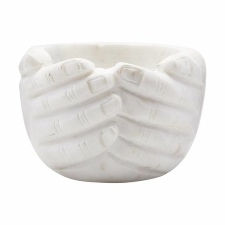 Housedoctor Bowl Hands marble 15x15x10cm