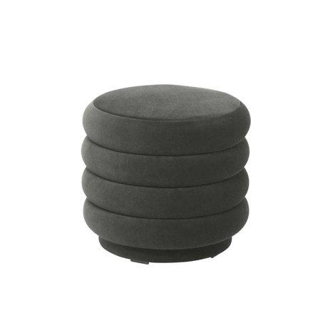 Ferm Living Pouf Round dark gray velvet S Ø42x40cm