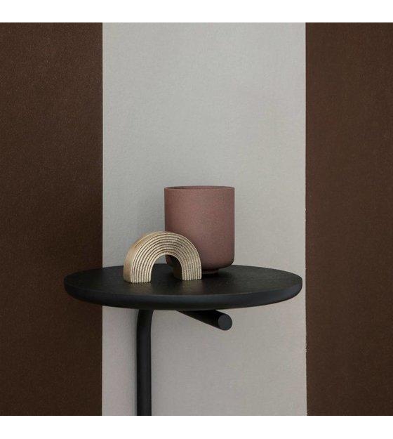 Wandplank Zwart Metaal Hout.Ferm Living Wandplank Pujo Zwart Metaal Hout O25x42 5cm