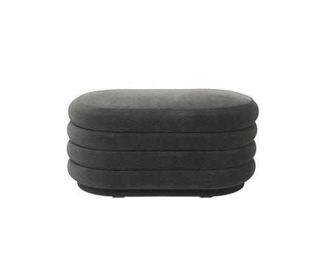 Ferm Living Pouf Oval dark gray velvet M 90x42x40cm